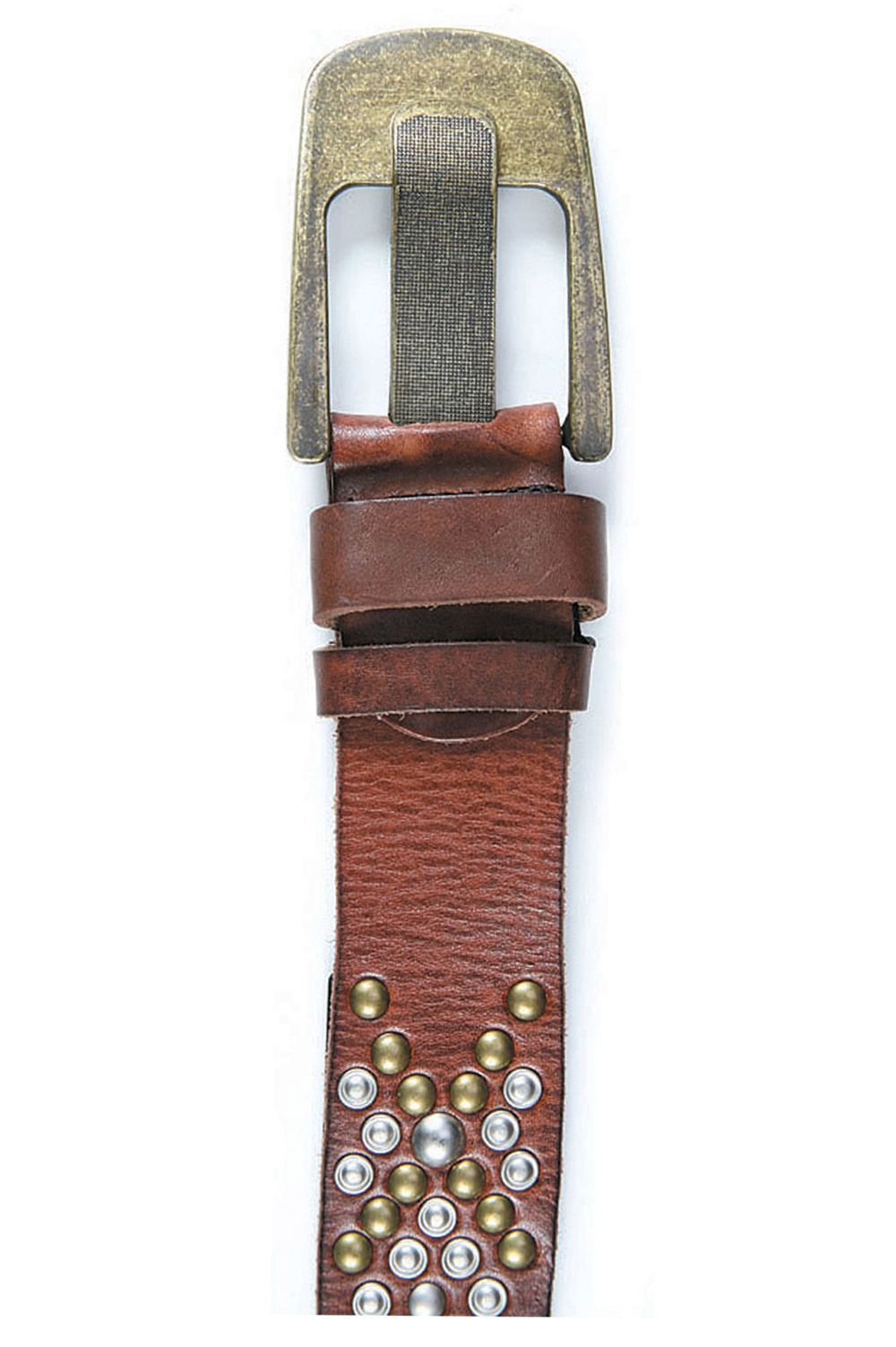 Art Sports Belt from natural dark brown skin with caps and ornaments - 514864